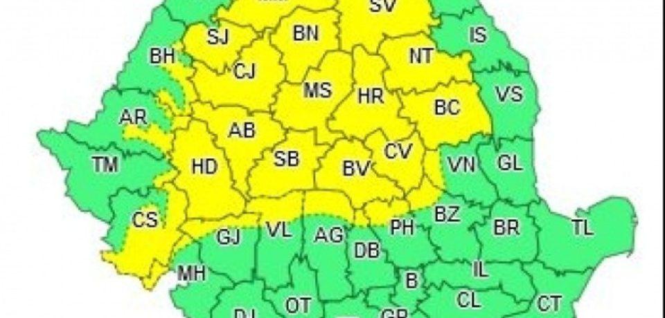 Alerta meteo: Cod galben de ploi in jumatate de tara. Parte din Bihor va fi afectat