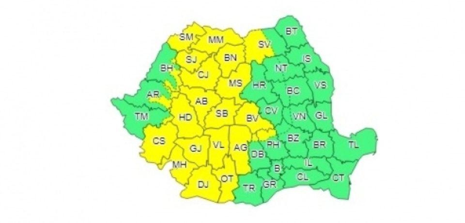 COD GALBEN de PLOI TORENŢIALE în aproape jumătate de ţară. Parte din Bihor va fi afectat