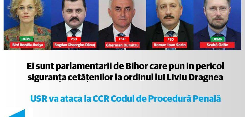 USR Bihor ii arata cu degetul pe parlamentarii din judet care au votat contestatele modificari la Codul de Procedură Penală