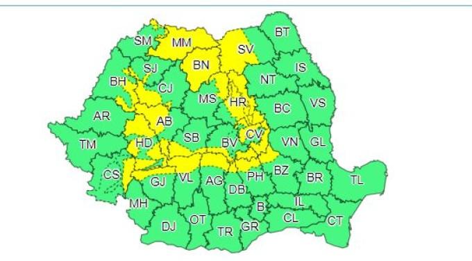O nouă atenţionare Cod galben de ninsori şi viscol. Parte din Bihor va fi afectat