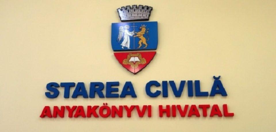 Programul de lucru la Compartimentul de Stare Civilă în perioada 15-17 iunie. Comunicat