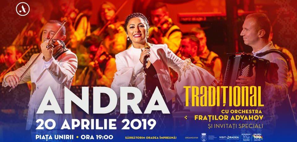 """Concertul Andra -""""Tradiţional"""", în Piața Unirii de la ora 19"""
