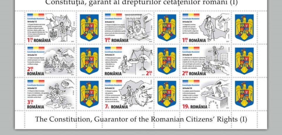 """Emisiunea de mărci poştale """"Constituţia României, garant al drepturilor cetăţenilor români""""-de luni, în magazinele Romfilatelia"""
