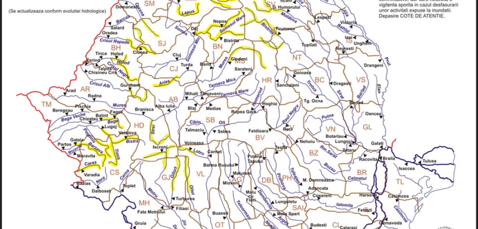 Cod galben de inundaţii pe mai multe râuri din nordul şi vestul ţării. Bihorul nu e ocolit