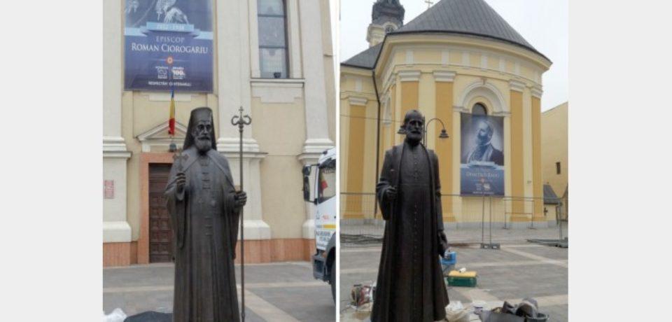 Statuile episcopilor Roman Ciorogariu şi Demetriu Radu au fost montate în Piaţa Unirii