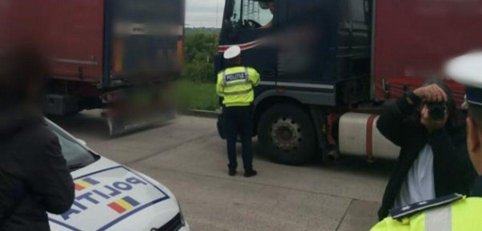 Aproape 100 de abateri au fost constatate și sancționate de polițiști în cadrul acțiunii europene TRUCK & BUS