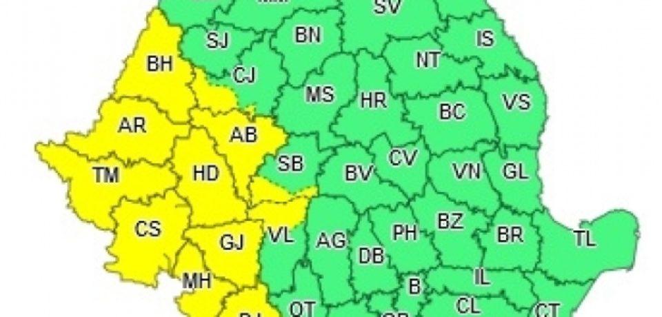 Cod galben de ploi în 9 județe, până luni, 20 mai. Bihorul e afectat