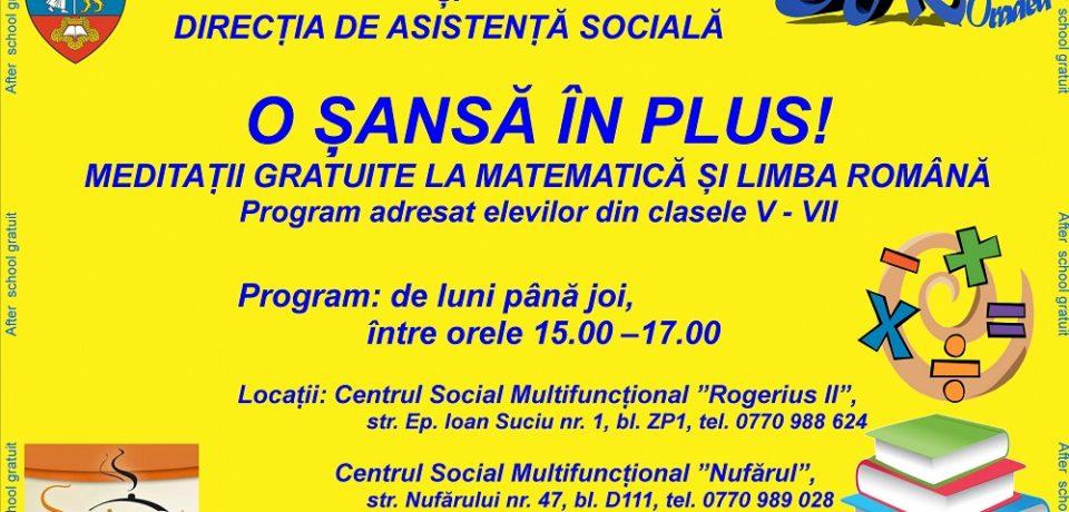 """""""O şansă în plus"""" – meditaţii gratuite la matematică şi limba română, oferite de DASO"""