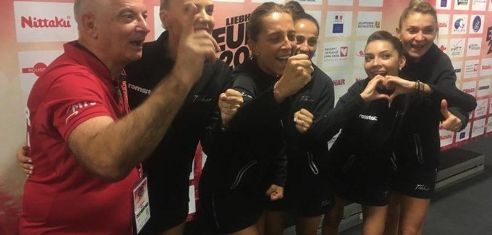 Echipa feminină a României a câştigat a doua oară consecutiv titlul european la tenis de masă